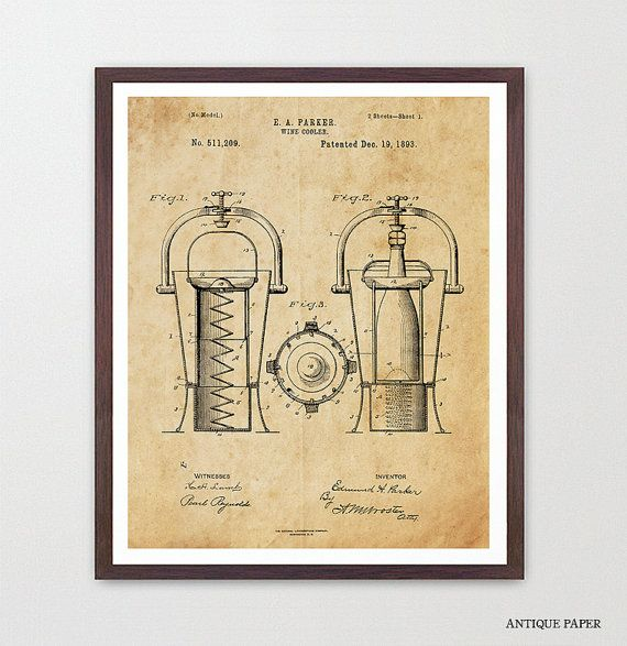 Wine Poster - Wine Art - Wine Cooler Patent Print - Wine Decor ...