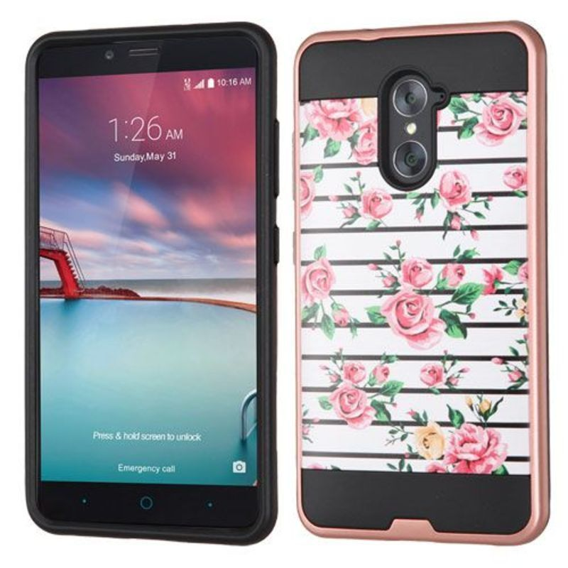 Insten Roses Hard PC/ Silicone Dual Layer Hybrid Case Cover For ZTE Grand X Max 2/ Imperial Max/ Kirk/ Max Duo 4G/ Zmax Pro #2256015