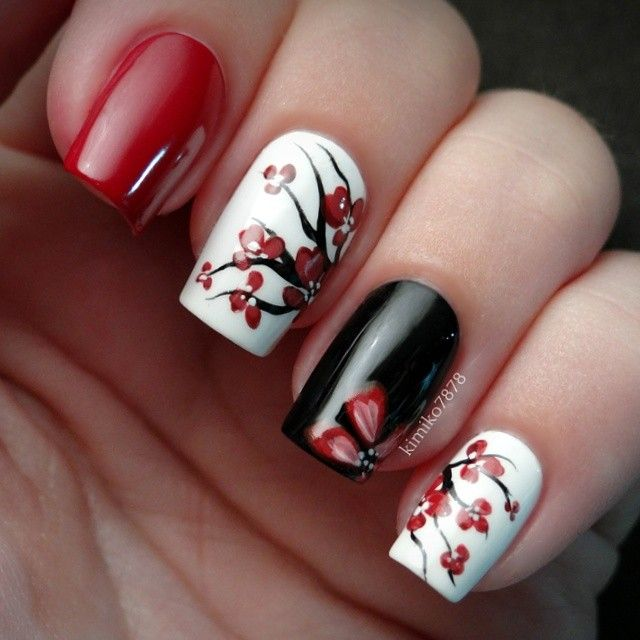 Opi Infinite Shine You Can Count On It Color S Used Are Red De Rio From Color Club Black Magic And Spirit From Revlon Everything Else Is H Cherry Blossom Nails Floral Nails Nail Art Designs