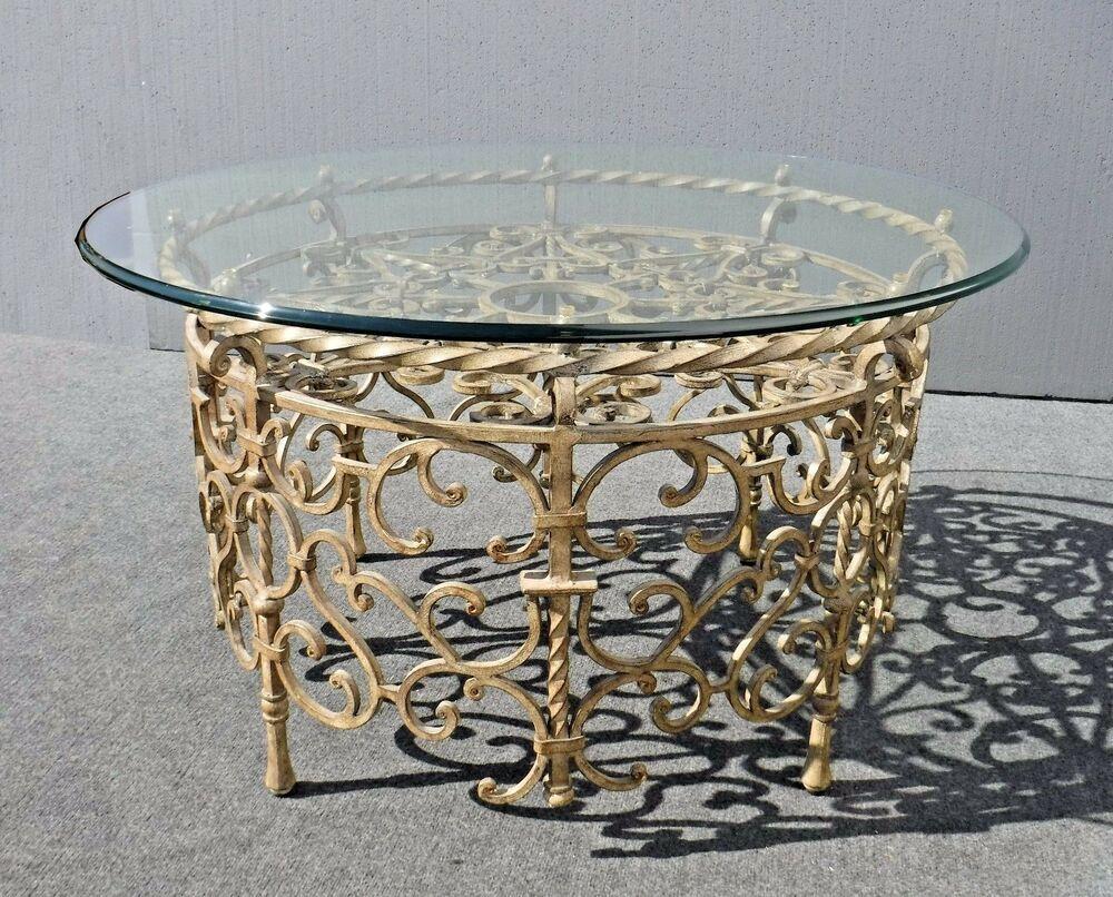 vintage spanish style round gold wrought iron glass top coffee rh pinterest com