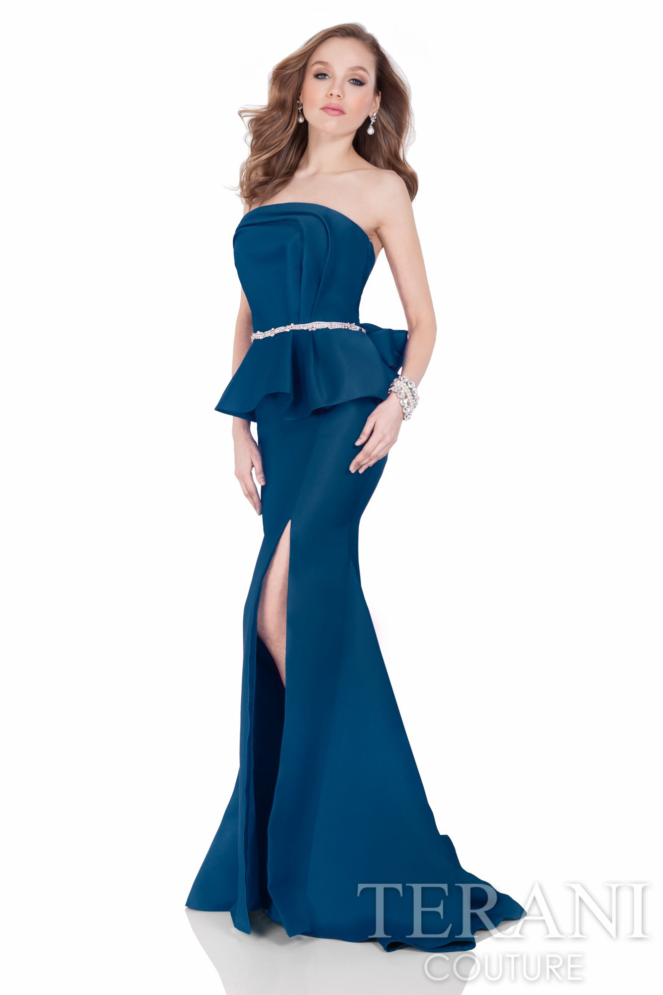 Long special occasion dress with lettering asymmetrically draped ...