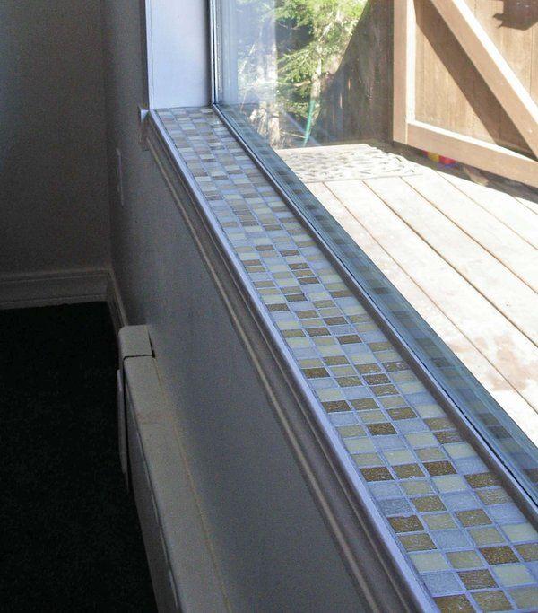 Glass tile window sill mosaic tile window sill 1 by for Bay window sill ideas
