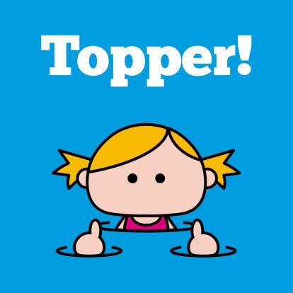 BEKIJK OOK DE BINNENKANT VAN DE KAART!  Zwemdiploma behaald? Stuur dit vrolijke kaartje! Ook in een jongens-variant verkrijgbaar! 'Topper!'  (Geslaagd kaart, zwemdiploma)