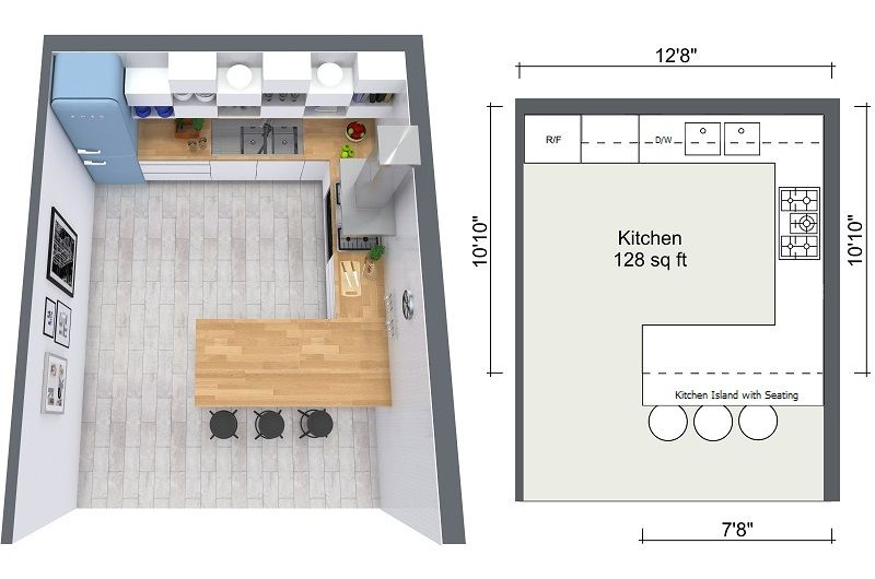 Kitchen Design Tips Roomsketcher 2d 3d Floor Plan Of Kitchen Layout Kitchen Design Plans Floor Plan Design Kitchen Designs Layout