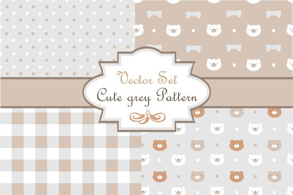 """Check out Vector set """"Cute grey pattern"""" by utro_na_more on Creative Market"""