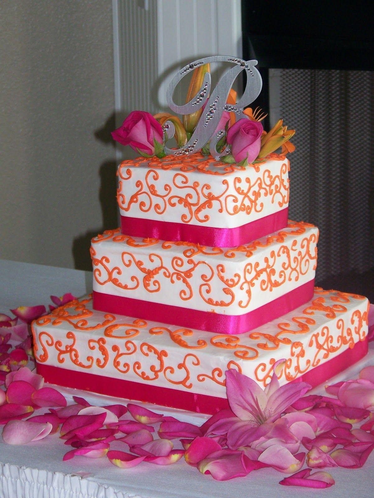 Orange/Hot Pink #Wedding Cake ... Wedding ideas for brides, grooms ...