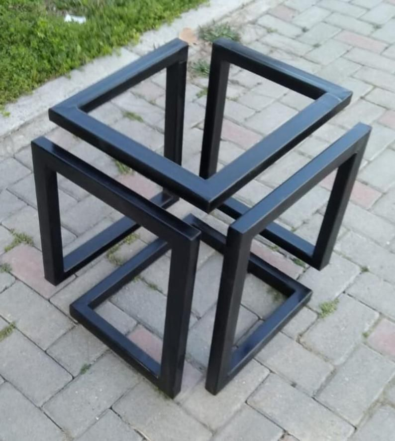 Metal Coffee Table Base Square Table Base Industrial Look Etsy