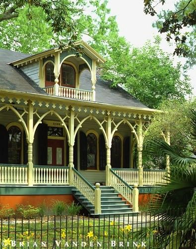 Charming Very Colorful Victorian Porch.Not So Much The Color, But Love Love Love The  Style