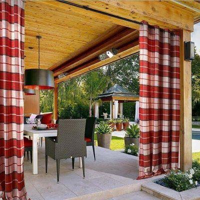 Best Antique Bronze Grommet Plaid Gingham Check Outdoor Curtain 400 x 300