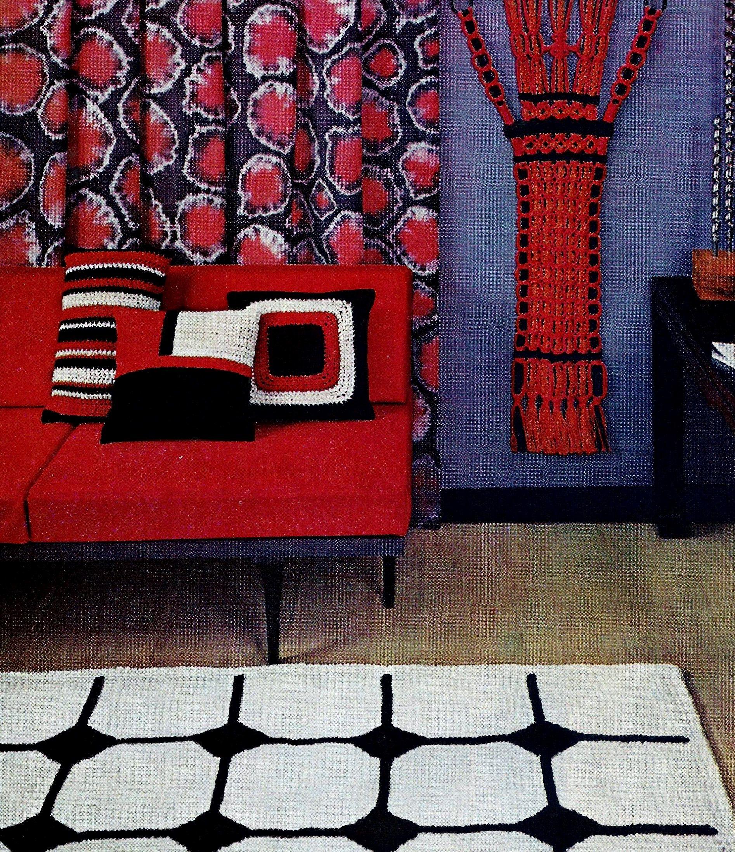 Crochet Pillow Tops, Afghan Crochet Rug And Macrame Wall
