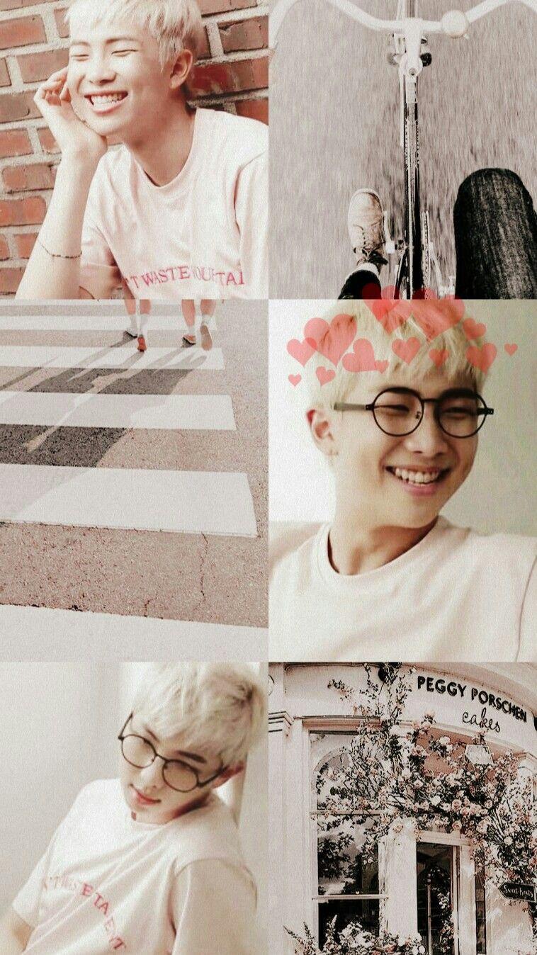 peachy white pastel aesthetic wallpaper namjoon of bts