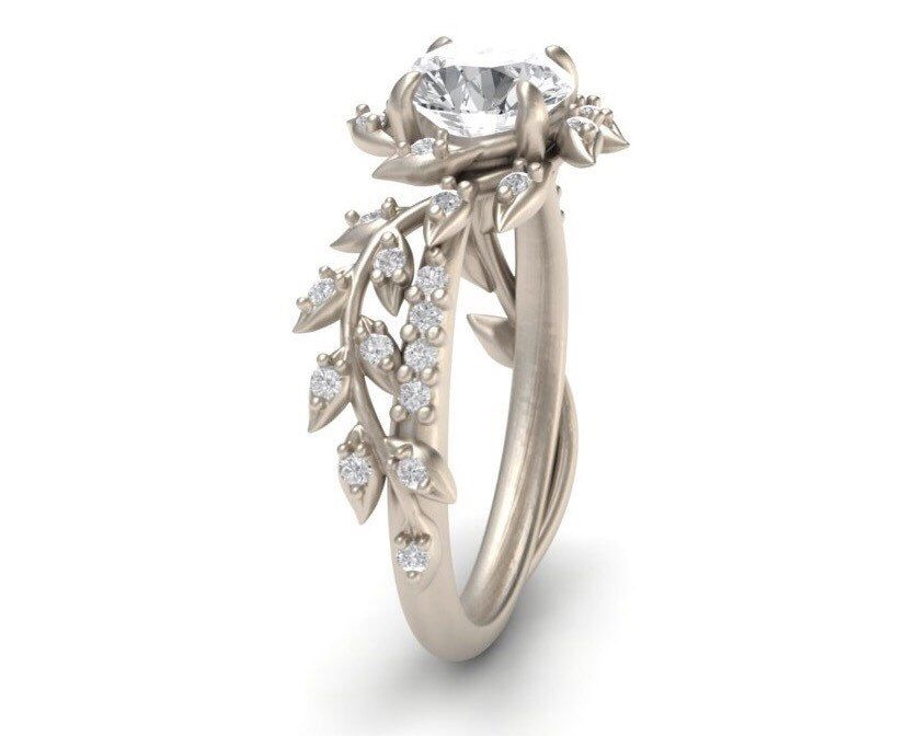 Leaf Engagement Ring White Gold 14k White Sapphire Engagement Ring