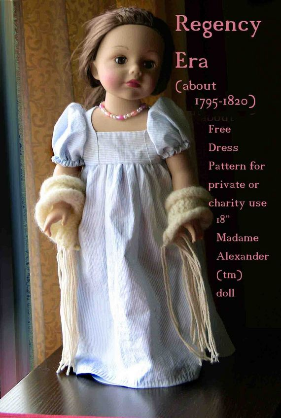 Free pattern for regency dress for 18 inch dolls | Sewing ...