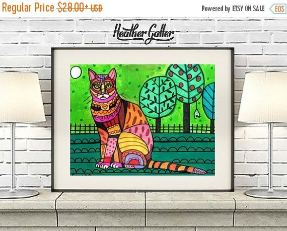 60% Off Today- Bengal Cat Art Poster Print of painting by Heather Galler (HG173)