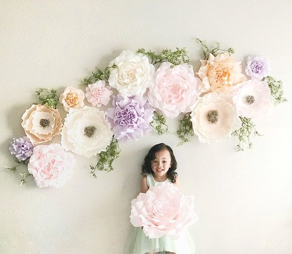 Crepe paper flowers- paper roses and peonies set- Paper Flower Wall-Giant Paper Flowers -Floral Nursery - Boho Nursery Decor #giantpaperflowers
