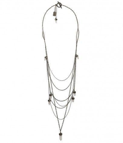 quartz and gunmetal necklace