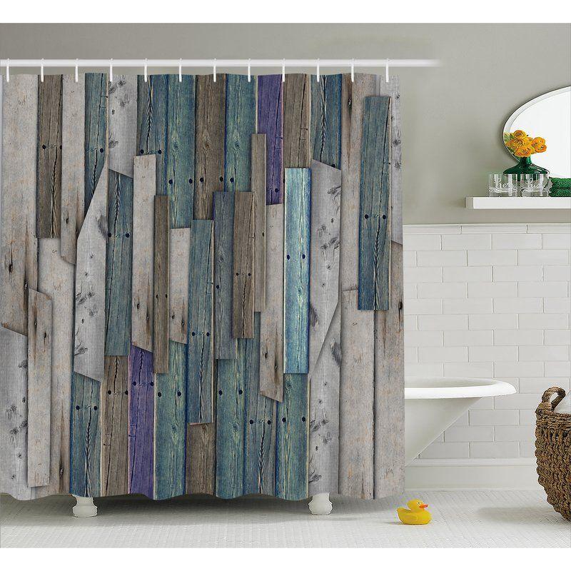 Livingston Blue Gray Planks Grunge Shower Curtain Hooks Rustic