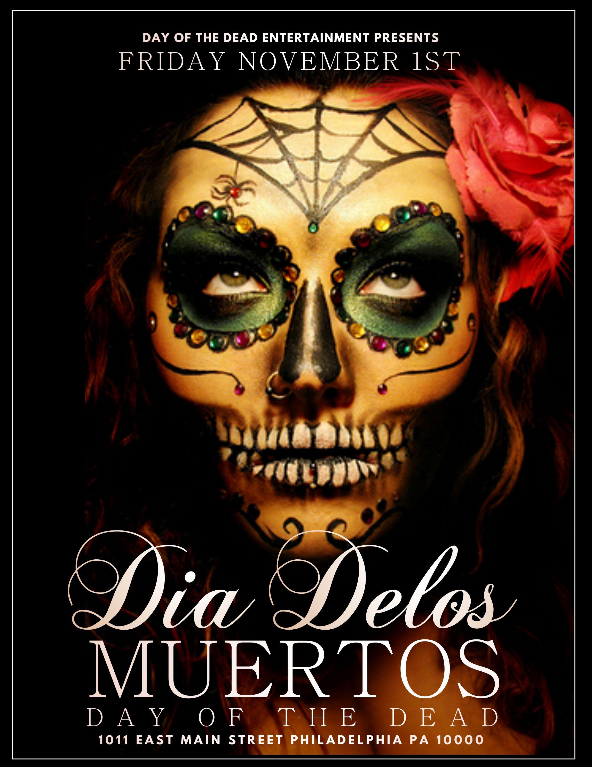 Dia de los Muertos event poster template Maquillaje día
