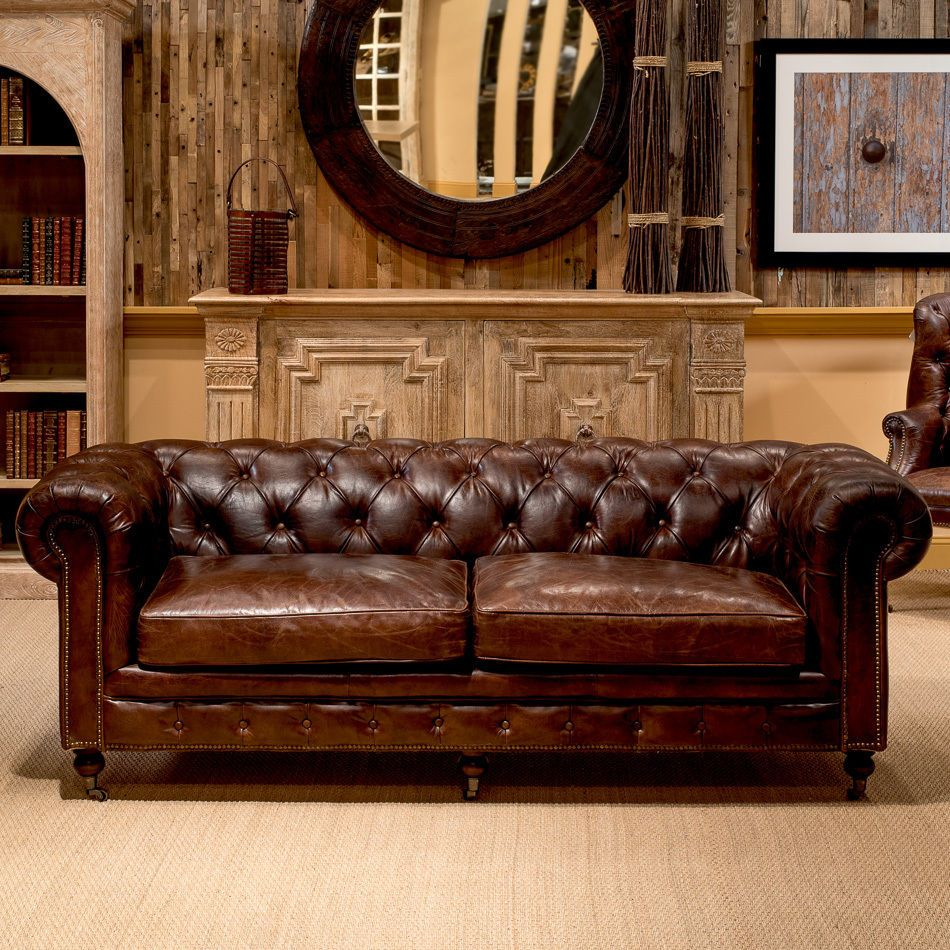 Best 89 Sofa Vintage Cigar Brown Top Grain Leather Tufted 400 x 300