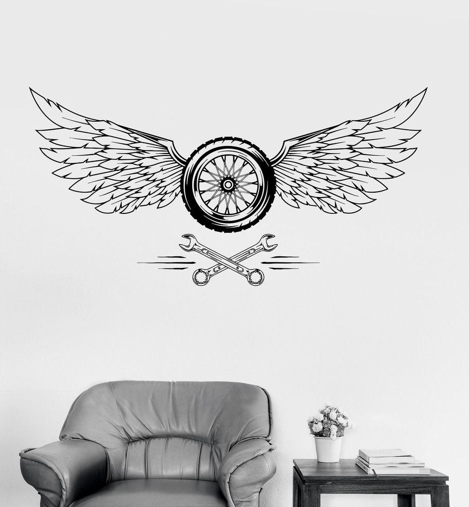 Vinyl Wall Decal Wheel Wings Car Repair Garage Stickers Mural - Custom vinyl wall decals for garage