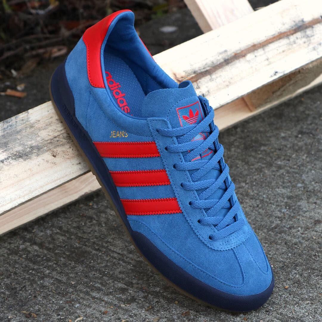 adidas jeans red and blue