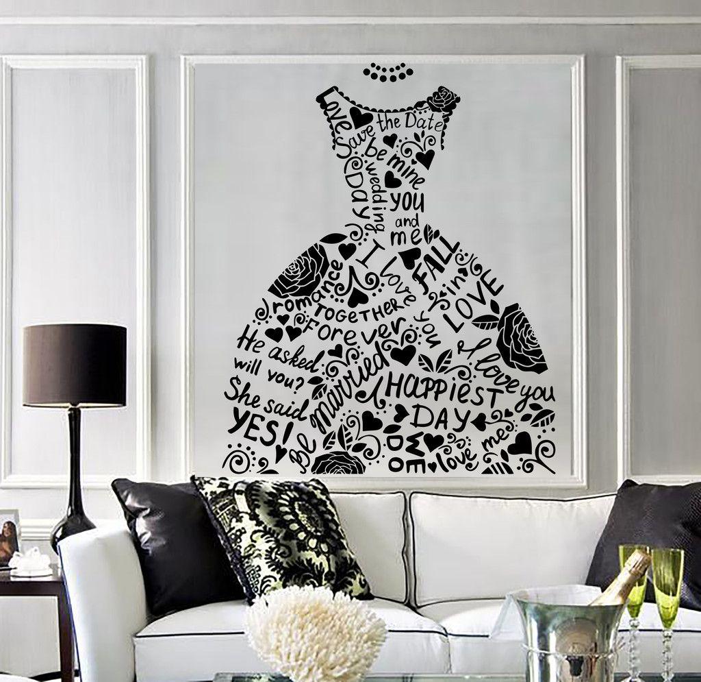 Vinyl Wall Decal Wedding Dress Bridal Shop Marriage