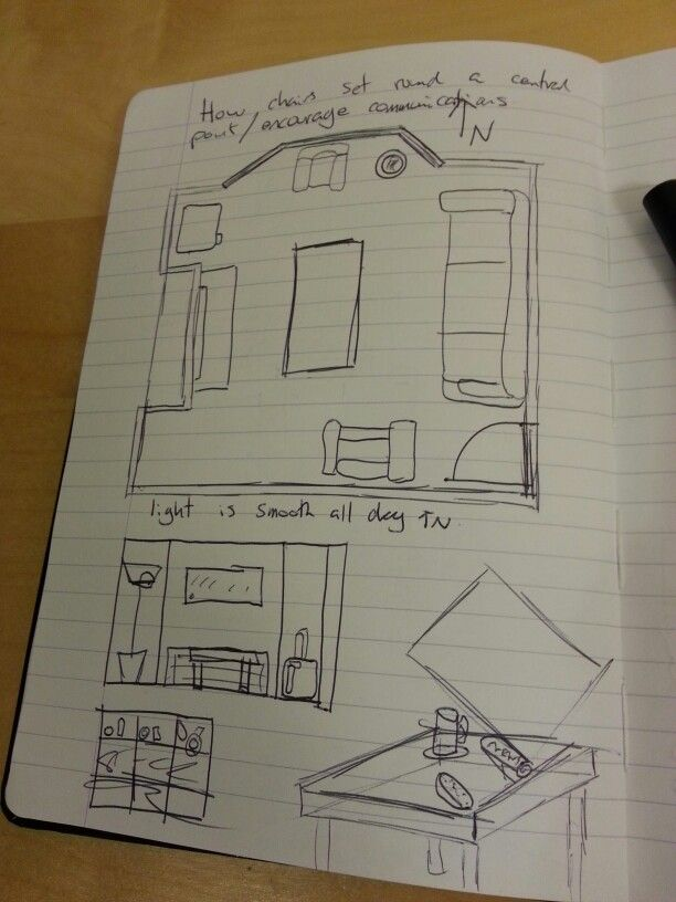 Initial Floor Plan Section And Sketch Of The Living Room Layout Order