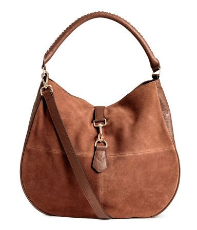 1116c3ab2e Hobo bag in grained imitation leather with genuine suede front section. Adjustable  handle