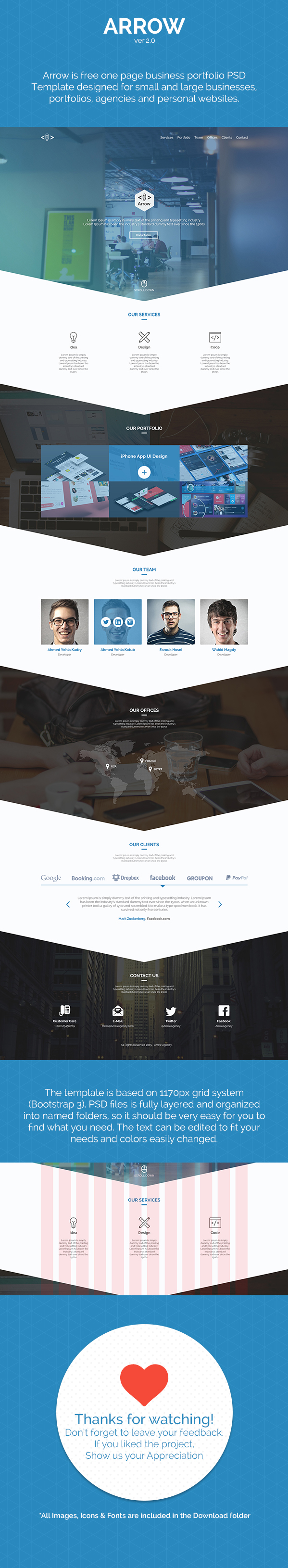 Arrow free one page business portfolio psd template on behance arrow free one page business portfolio psd template on behance wajeb