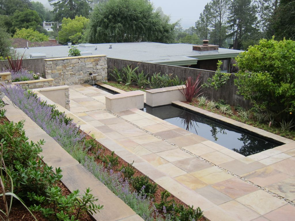 contemporary landscape/yard with cypress ridge stone