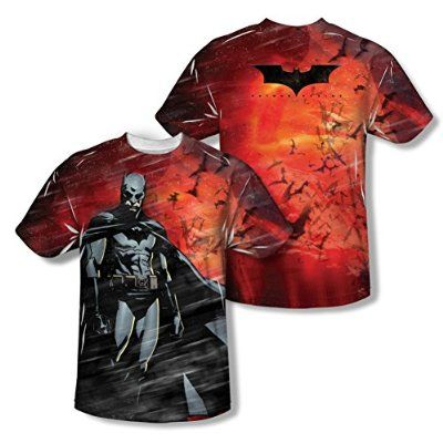 Batman RED Sky KNIGHT Flying Bats Licensed Adult T-Shirt All Sizes