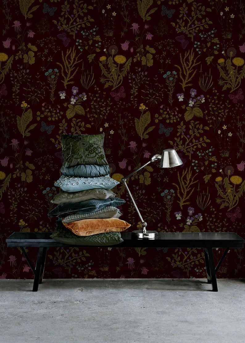 Dark Field Flowers Removable Wallpaper Brown And Green 40 Etsy In 2021 Removable Wallpaper How To Install Wallpaper Traditional Wallpaper