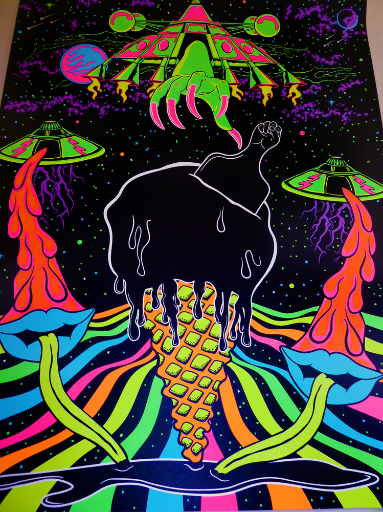 The Ice Cream Connection 18x24 6 Color Screen Print Reacts