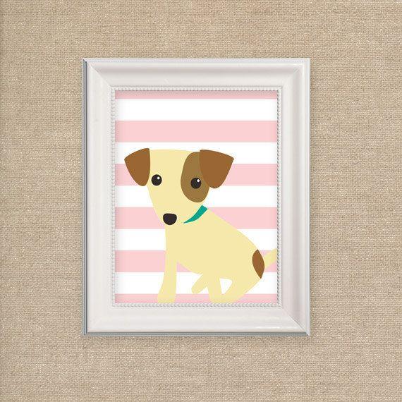 Nursery Art Print - Dog Print for Nursery on Pink Stripes - Puppy Art Print