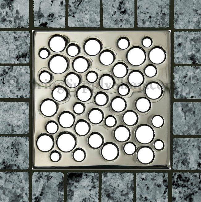 Ebbe Unique Square Shower Drain Polished Chrome Bubbles Shower