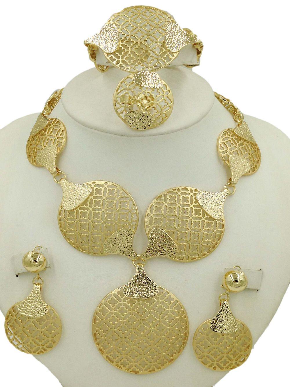 Dubai Gold Jewelry Sets Long Necklace Plated Fashion Nigerian ...