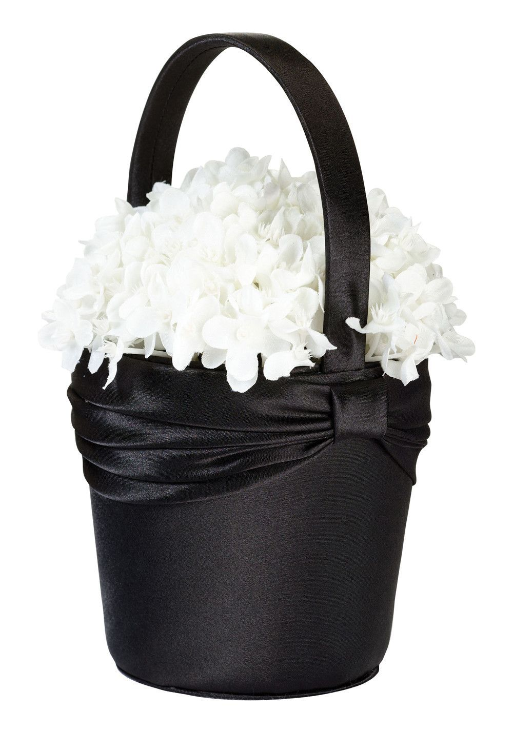 Elegant Black Satin Sash Flower Girl Basket Wedding Ideas