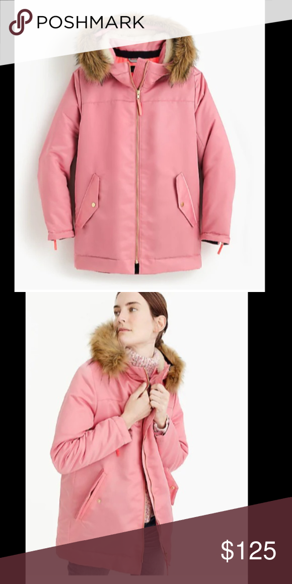 b128ed920f37 J.Crew Pink parka with quilted lining Hardly used! Warm on the inside and  pretty on the outside