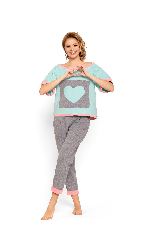 f9133337f69ebd Modna piżama damska L-XL BLUE HEART Hit gwiazd! #plussize #online #xl #l  #bielizna #nocna