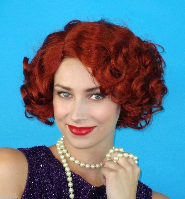 Auburn Red 1920s Flapper Gatsby Gangster Short Curly  Costume Wig &  Wig Cap