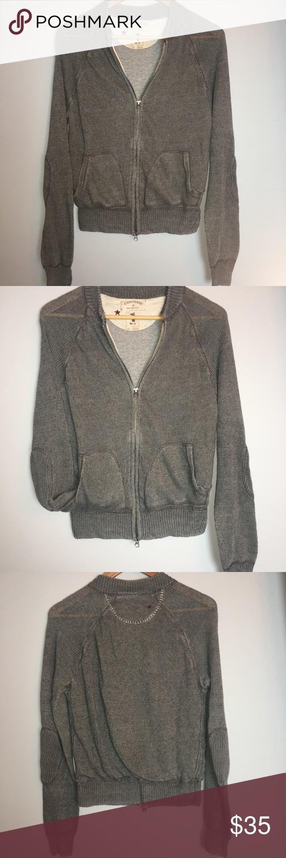 559348e28772 Converse 100% Linen Knit Sweater Jacket (S) Converse grey men s linen knit  zip up jacket with elbow patch detail. Super cool sweater!