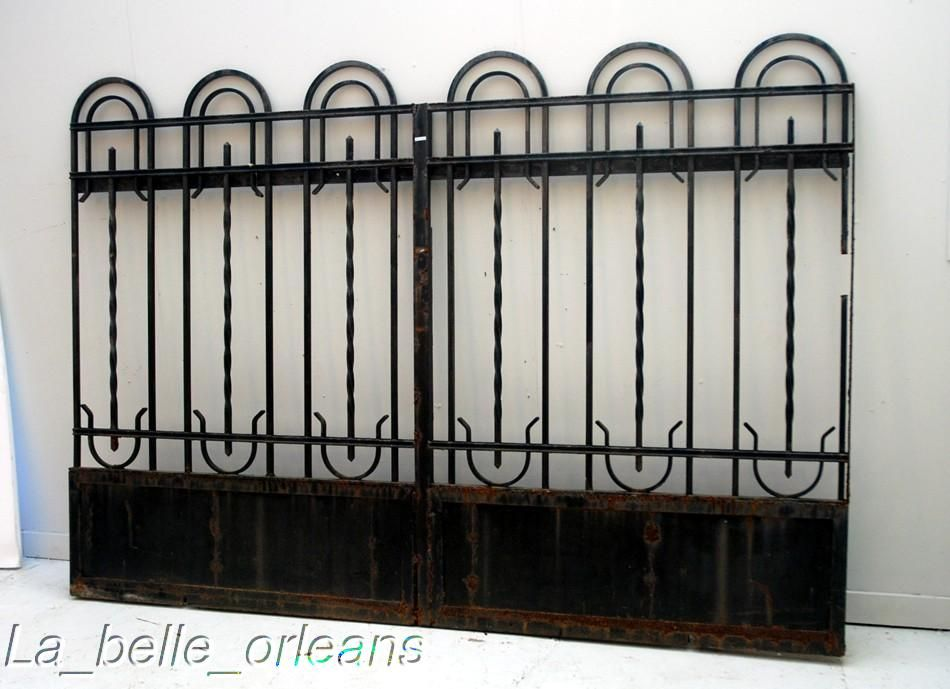 French Art Deco Wrought Iron Gate And Fencing Wow For Sale