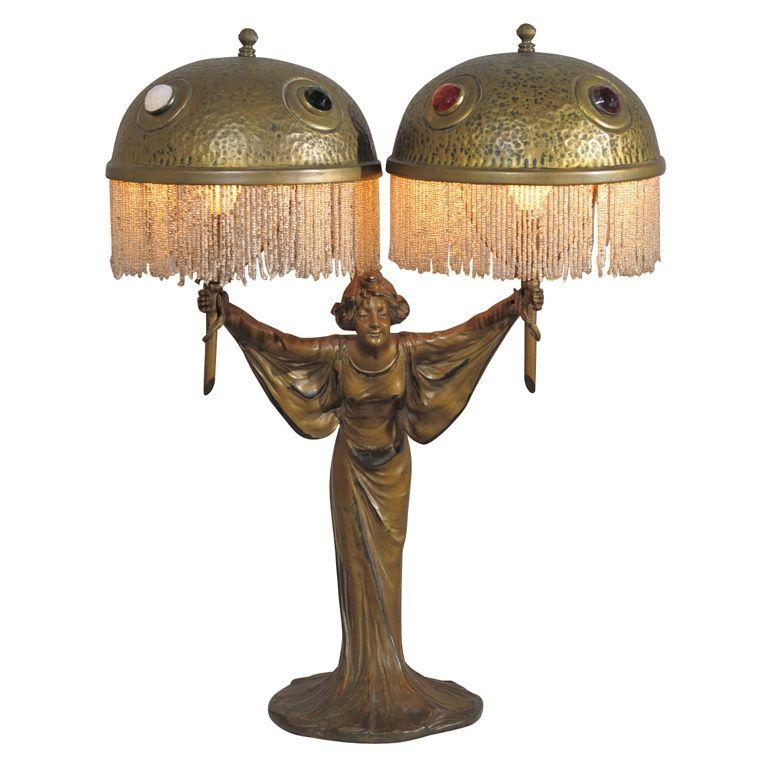 1915 art nouveau jeweled lamp Disenos de unas