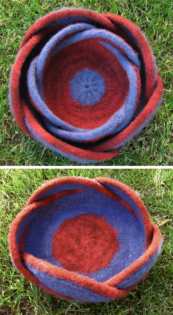 Free knitting pattern for moebius bowls these felted moebius free knitting pattern for moebius bowls these felted moebius baskets feature five twists to get bankloansurffo Gallery