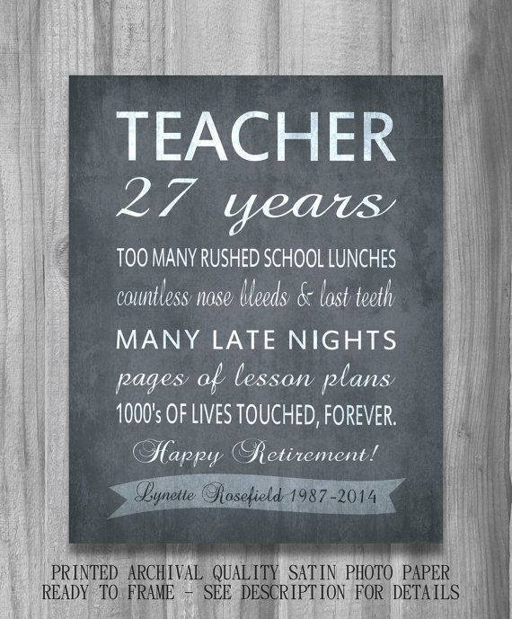 Teacher RETIREMENT Gift Personalized by PrintsbyChristine on Etsy ...