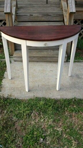 Refinished 1/2 Moon Accent Table. Painted In General Finishes Snow White.  Refinished