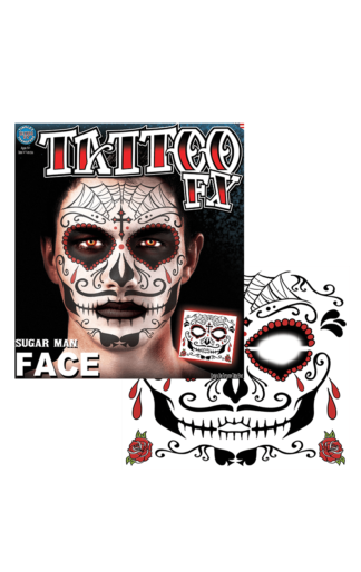 Day Of The Dead Face Tattoo Accessory In 2020 Mens Christmas Costumes Fancy Dress For Kids Mens Halloween Costumes