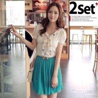 Set: Short-Sleeve Top with Scarf + Chiffon Skirt