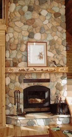 A River Stone Fireplace Rocks River Rock Fireplaces Stacked
