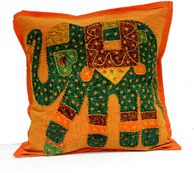 Krishna Mart India Home Decorative Flower Design Cotton Square Boho Throw Pillow Case Kantha for Sofa Set Multi Color Cushion Cover Indian Ethnic Bohemian (Orange)